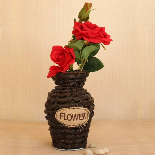 TIED RIBBONS Artificial Red Rose Flower Stem with Handcrafted Rattan Flower Vase for Living Room Home Décor Center table Dining Table Gift item Decorations Red, Brown Rose Artificial Flower  with Pot