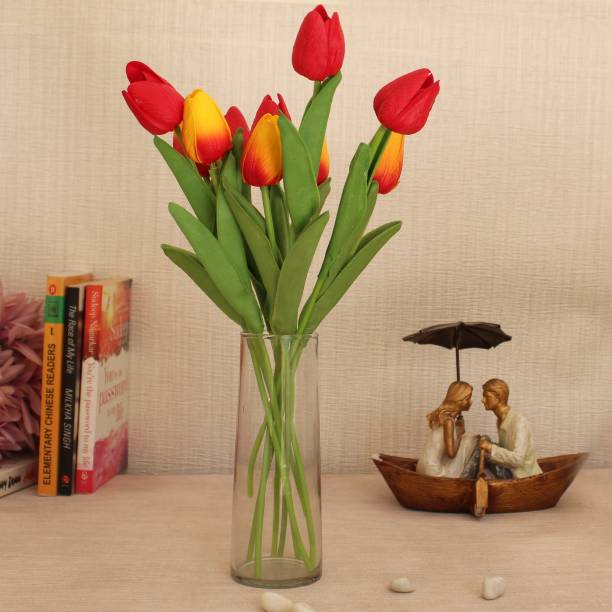 TIED RIBBONS Artificial Tulip Flower Sticks with Vase for Home Décor living Room Wedding Party Decorations Multicolor Tulips Artificial Flower  with Pot