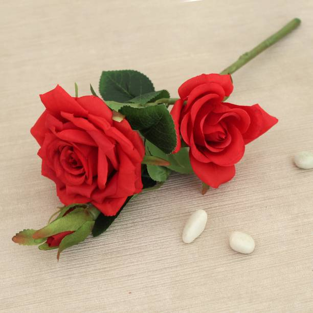 TIED RIBBONS Artificial Rose Flower for Vase Pot Home Decor Gift Item Party Decorations Red Rose Artificial Flower