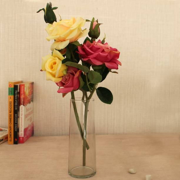 TIED RIBBONS Decorative Multicolor Artificial Rose Flowers Stem with Vase For Home Décor, Living Room, Center Table, Corner, Gift Item, Wedding Decorations Pink, Yellow Rose Artificial Flower  with Pot