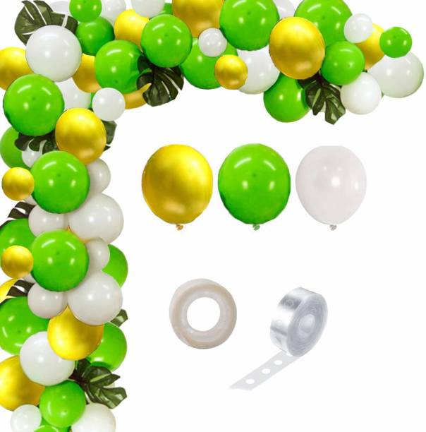Bash N Splash Solid jungle safari theme Green, White & Yellow Garland Party Decoration Pack With Arch Strip & Glue Dots(Pack of 102) Balloon