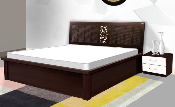 POJ Sophia King Size Bed With Equipped With Two Hydraulic Lifts In Walnut Finish. Engineered Wood King Hydraulic Bed