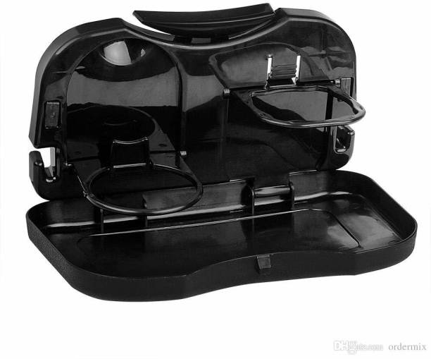 AutoRight Foldable Car Dining Meal Drink Tray Black Car Bottle Holder