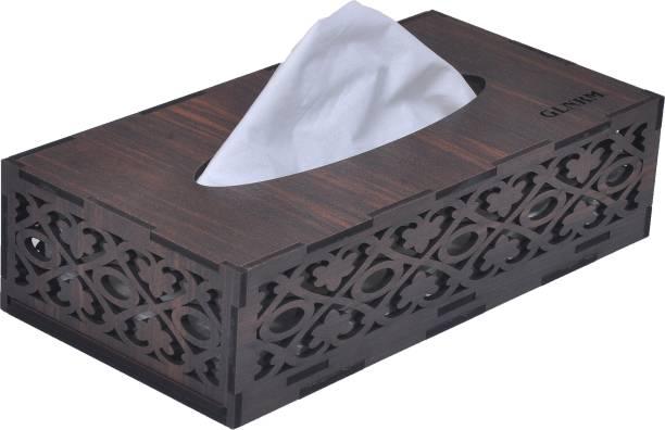GLNRM Wooden Tissue Paper Box Holder Decorative Organizer Napkin Holder( BROWN,JALI) Vehicle Tissue Dispenser