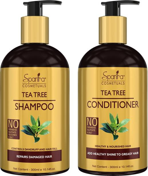 Spantra Tea Tree Hair Conditioner and Shampoo 300ml each, Suitable All Hair Types, Parabens and Sulphate Free, Hair Care Solution Combo Kit, PACK OF 2