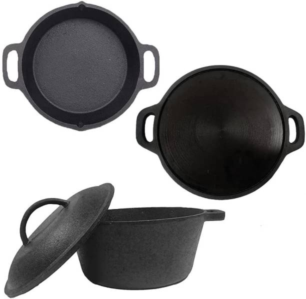 70'S KITCHEN Pre-Seasoned Cast Iron Cookware Combo Set - Dutch Oven (5ltrs), Smoothy Tawa (12Inch) & Double Handle Skillet Pan (10Inch) for Cooking Cookware Set