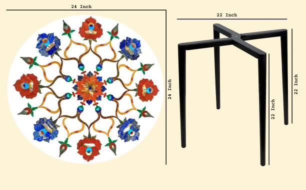 Mana Fashion & Creation Dining Table With Inlay Work (White Marble) Ceramic 2 Seater Dining Table