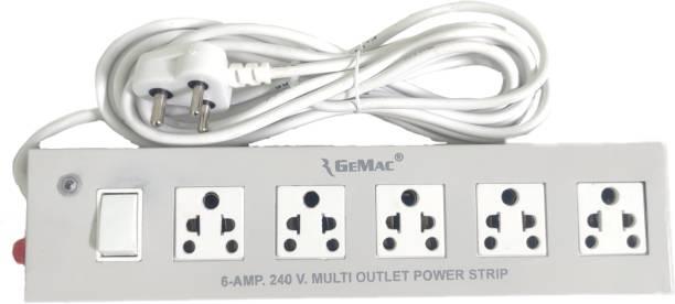 RGEMAC 5+1 LONG WIRE EXTENSION BOARD METAL BODY 4M CORD LENGTH POWER CORD Three Pin Plug