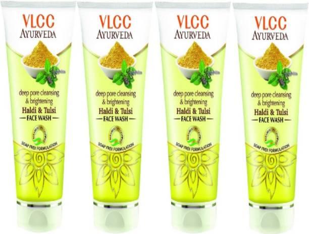 VLCC Ayurveda Deep pore cleansing & Brightening Haldi & Tulsi face wash 100ml(pack of 4) Face Wash