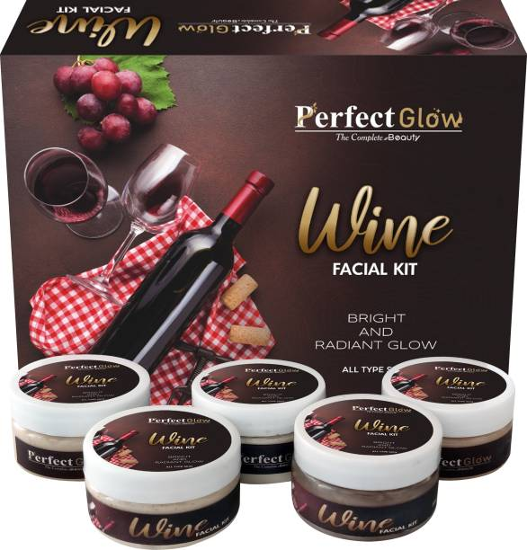 Perfect Glow Professional Feel Red Wine Facial Kit, Beauty Glow facial kit for all type skin solution, Made in India (250 Gm) (5 x 50 g)