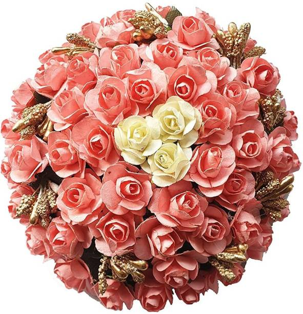 Foreign Holics Multicolored Golden Beads Pink Flower Stylish Artificial Hair Gajra Accessories for Women and Girls Bun