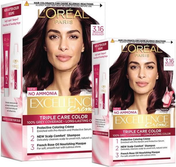 L'Oréal Paris Excellence Creme Hair Color (Combo Pack of 2 - 100g, 72 ml With 25g, 25 ml) , 3.16 Burgundy