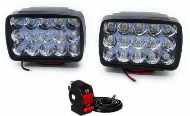 Mega Mart 15LED Fog Lights 2PC +1PC Switch Fog Lamp Motorbike, Car, Truck, Van LED (12 V, 15 W)