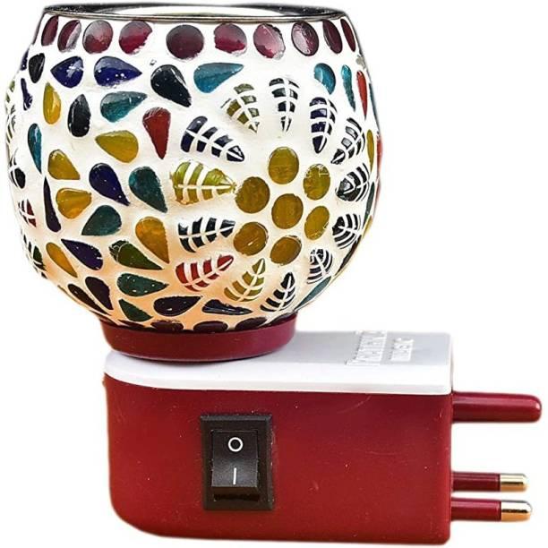 Prathna Kapoor dani or Incense burner With night lamp multicolour Glass Incense Holder