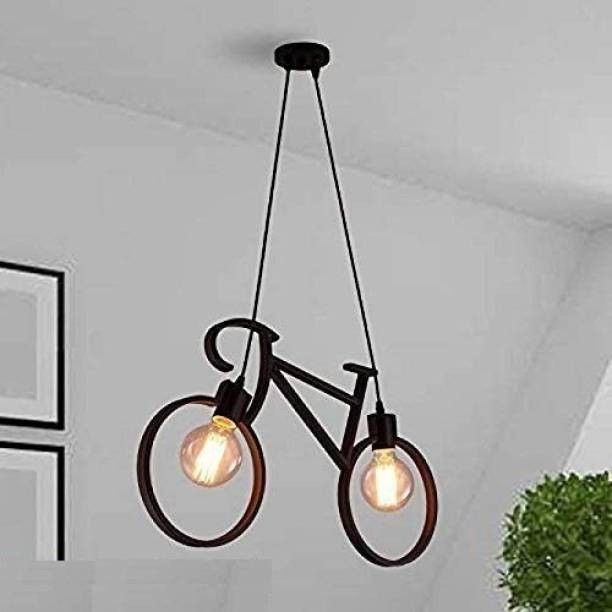 WHITERAY Vintage Black Aluminium Metallic Cycle Shape Hanging Pendant Ceiling Lamp for Bedroom, Living Room Balcony Decor (Vintage Cycle) ( Bulbs not Included ) Black Iron Hanging Lantern