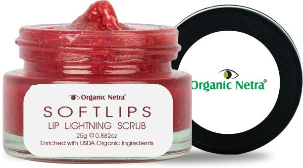 Organic Netra SOFTLIPS Lip Scrub for Lightening and Brightening of Dark Lips – Pure Lip Scrub Enriched With Certified Organic Ingredients for Dry & Chapped Lips – Ideal for Men & Women Strawberry