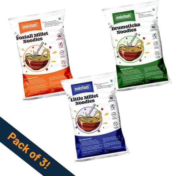 envirofoods Instant Noodles Pack of 3(Drumsticks, Foxtail Millet, Little Millet) Instant Noodles Vegetarian