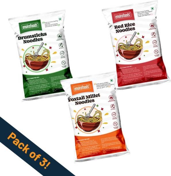 envirofoods Instant Noodles Pack of 3(Red Rice, Drumsticks, Foxtail Millet) Instant Noodles Vegetarian