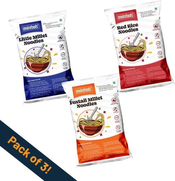envirofoods Instant Noodles Pack of 3(Red Rice, Foxtail Millet, Little Millet) Instant Noodles Vegetarian