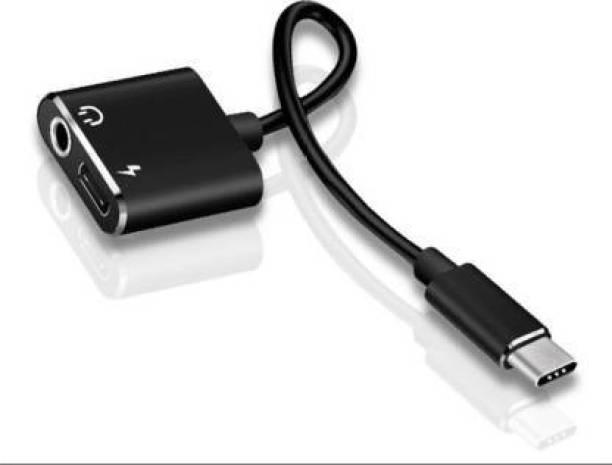 Tdoc Black 2 in 1 Audio Metal Connector, Advanced Type C to 3.5mm Aux Headphone Splitter Jack Adapter & Charging Jack Converter Phone Converter