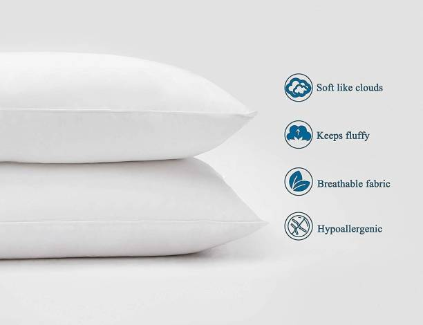 Decor SHAPE RETAINING LUXURY FIBRE PILLOW PACK OF 2 Polyester Fibre Solid Sleeping Pillow Pack of 2