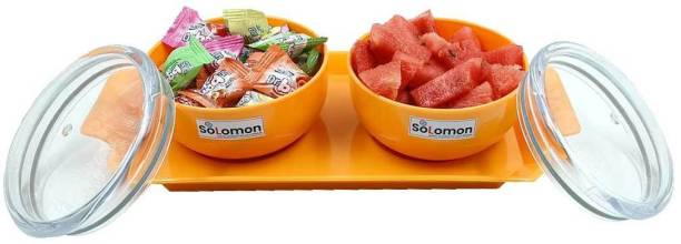 Solomon ™ Premium Quality Multipurpose Set for Decorative Serving / Candy / Fruit / Chocolate / Snacks / Dessert / Dryfruits / Aachar / Pickle / Cookie / Mouth Freshner / Tea / Coffee / Suger / Condiment Set / Salad / Box / Airtight / Kitchen / Lid / Containers / Sets / Bowls / Bowl, (ORANGE) Bowl, Tray Serving Set