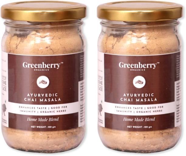 Greenberry Organics Ayurvedic Chai Masala Mix, Enhances Taste, Good for Immunity, Organic Herbs, Home Made, 100 grams Pack 2 Ginger Masala Tea Mason Jar