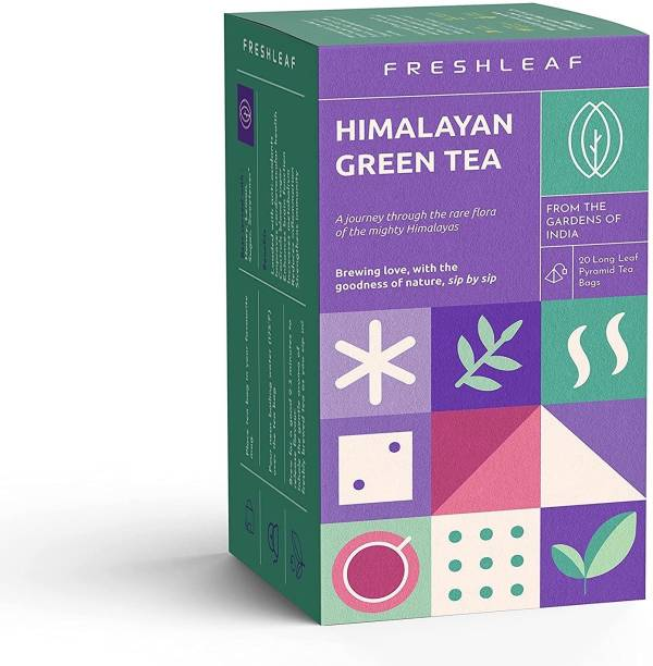 FRESHLEAF Green Tea Leaf Loaded With Anti-Oxidants, Made With 100% Whole Long Leaf Naturally Handpicked from Himalaya, for Weight Loss, 20 Pyramid Green Tea Bags Box