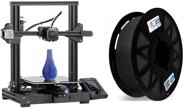 Creality Ender-3 V2 2021 3D Printer + 3IDEA Premium PLA Black Filament (1.75mm, 1Kg) - Combo Offer 3D Printer