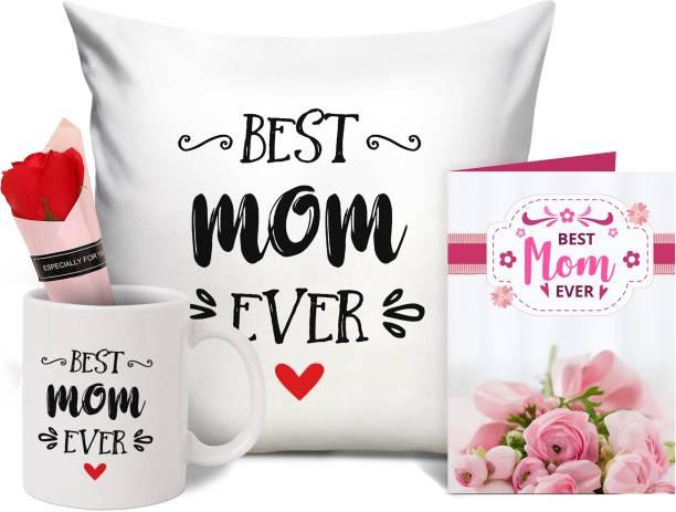 TIED RIBBONS Cushion, Mug, Greeting Card, Artificial Flower Gift Set