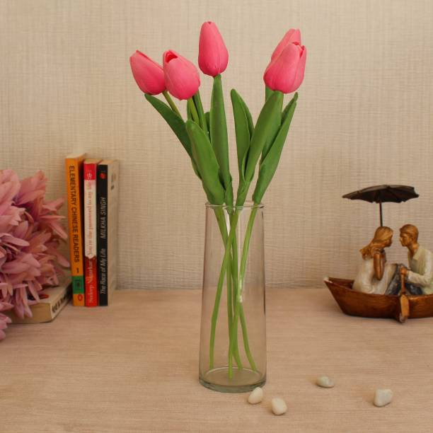 TIED RIBBONS Artificial Tulip Flower Sticks with Glass Vase for Home Décor living Room Gift Item Wedding Decorations Pink Tulips Artificial Flower  with Pot