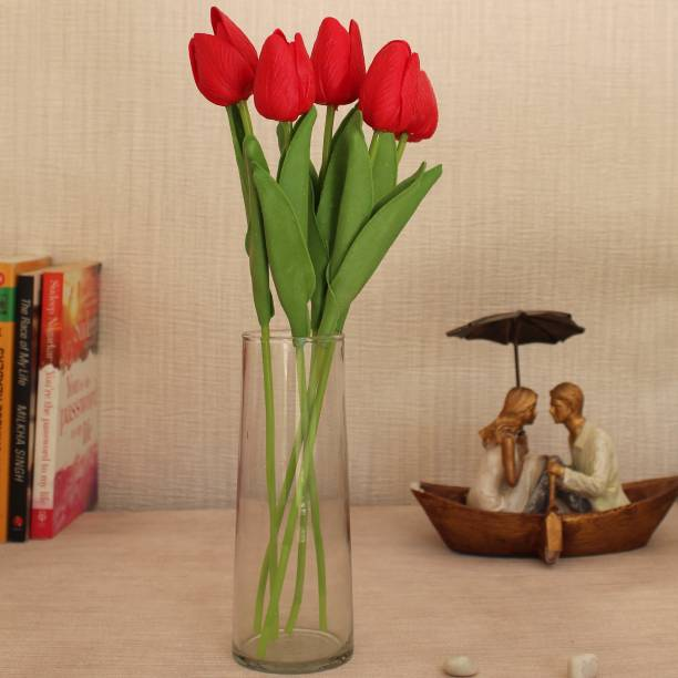 TIED RIBBONS Artificial Tulip Flower Sticks with Glass Vase for Home Decor living Room Gift Item Wedding Decorations Multicolor Tulips Artificial Flower  with Pot