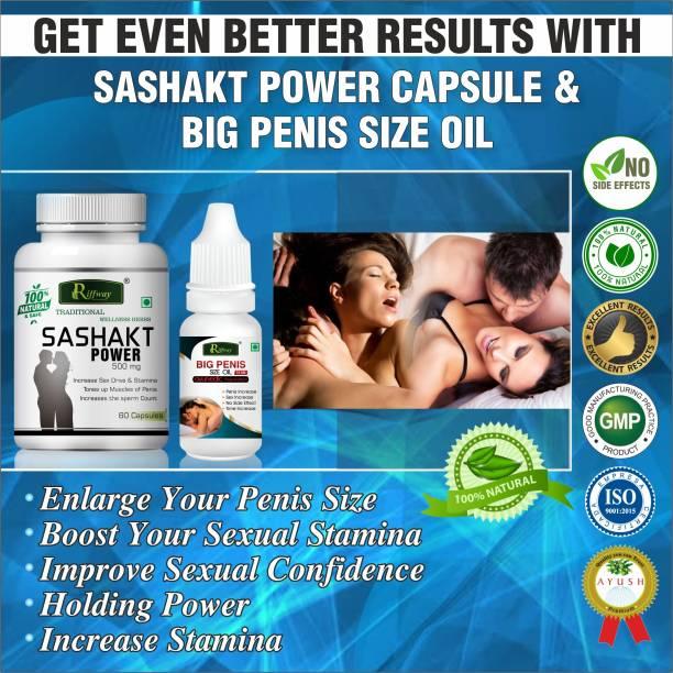 Riffway Sashakt Power Capsules Big Penis Size Oil For Increases Libido & Sexual Drive (60 Capsules+15ML)