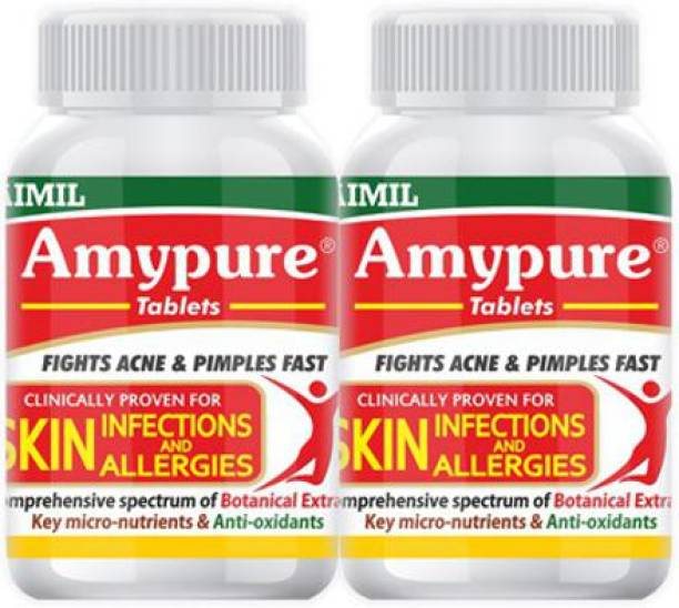 AIMIL Amypure Ayurvedic Blood Purifier Tablets For Pimple Free, Fair & Glowing Skin (Pack of 2)