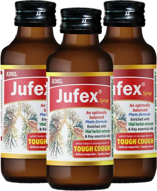 AIMIL Jufex Forte Syrup Herbal Syrup for Respiratory Wellness (Pack of 3)