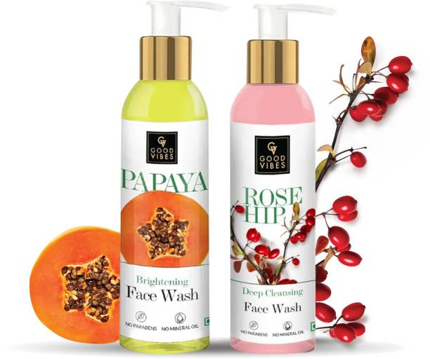 GOOD VIBES  Best (Papaya 120ml + Rosehip 120ml) Face Wash