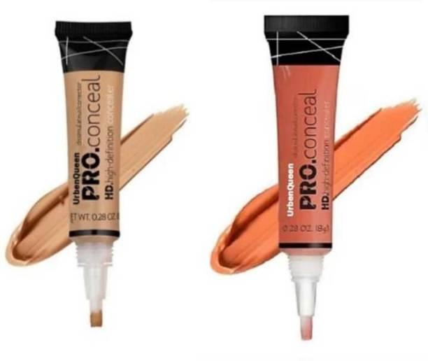 urbenqueen HD Pro Conceal Hd Concealer (ORANGE+BEIGE 8 g PACK OF 2 Concealer (ORANGE, BEIGE, 16 g) Concealer