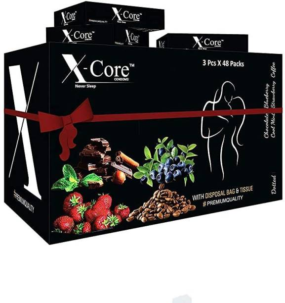 X-Core dotted condoms- 144 pcs flavored condoms, with 144 pcs. DISPOSAL POUCHES & 144 pcs. TISSUE PAPERS, Free of chemicals like paraben, Flavors-(Strawberry), 48×3's box= 144 PCS. Condom (Set of 48, 3S) Condom
