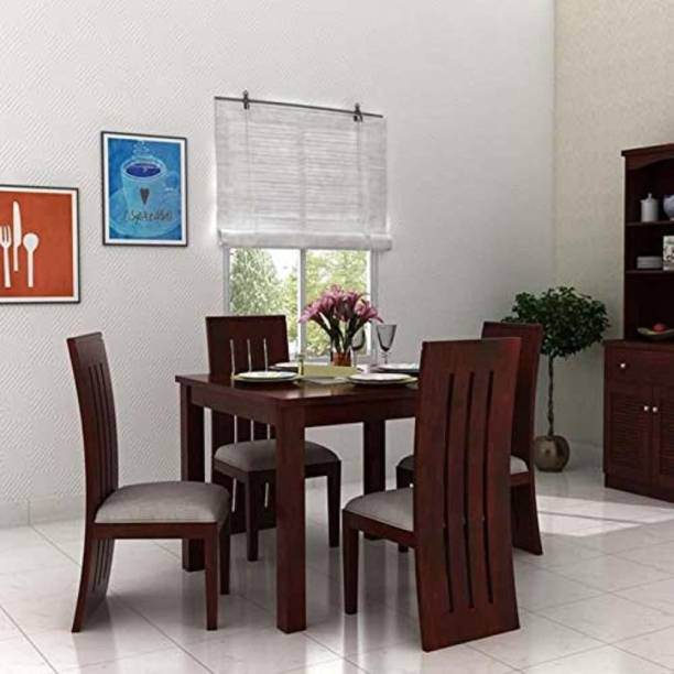 WOODSTAGE Solid Wood 4 Seater Dining Set