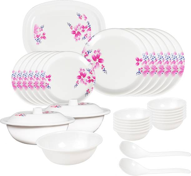 Shivshakti Kitchenware Pack of 32 Melamin Dinner Set - 32 Pieces Printed Design 100% High Grade Melamine, Dinner Set. (Pink Flowers,Design) Dinner Set