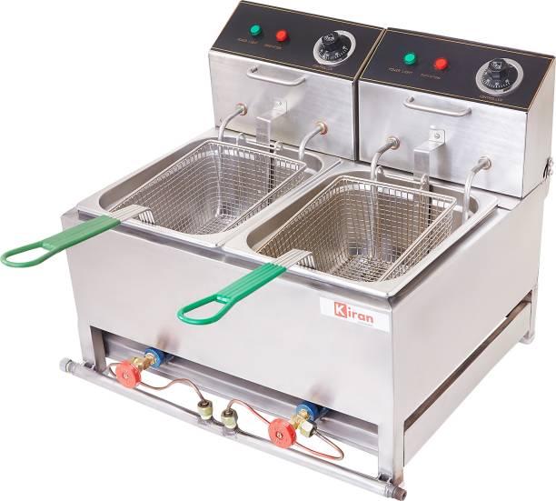kiran 8 Liter Double PAN Deep Fryer- Electric & Gas - 8 L Electric Deep Fryer