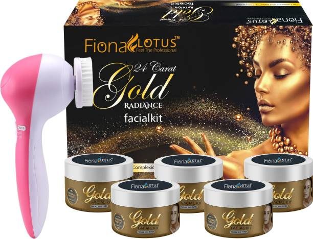 fiona lotus 24K Gold Skin Whitening & Tightening Facial Kit With Face Massager for Facial, Suitable For all Age, Unisex For Fairness, Lotus Best In-stat Glow Facial Kit Ever in INDIA