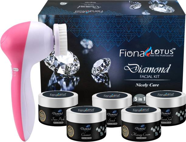 fiona lotus Diamond Skin Whitening & Tightening Facial Kit With Face Massager for Facial, Suitable For all Age, Unisex For Fairness, Lotus Best In-stat Glow Facial Kit Ever in INDIA