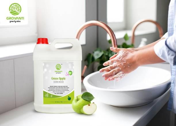 GROVANTI ORGANIC GREEN APPLE HANDWASH|KILL99.9%GERMS|REFILLPACK|10 L(5+5LITER) Hand Wash Can