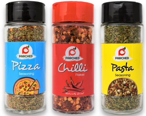 Parched Pizza and Pasta Seasoning with Chilli Flakes Combo (35G, 35G, 40G)  NO Preservatives  NO Chemicals  Handmade   Himalayan Herbs