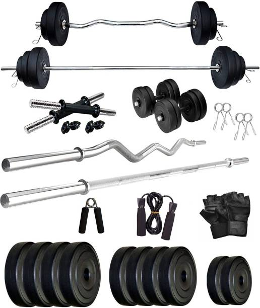 Star X 60 kg 60Kg PVC weight with 3ft Curl Rod, 5ft Straight Rod and Accessories Home Gym Combo