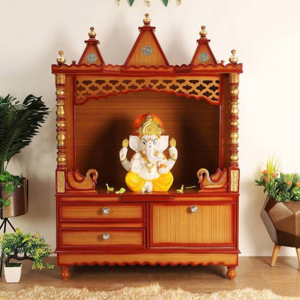 DZYN FURNITURES Abhikya Sthana Wooden Temple Solid Wood Home Temple