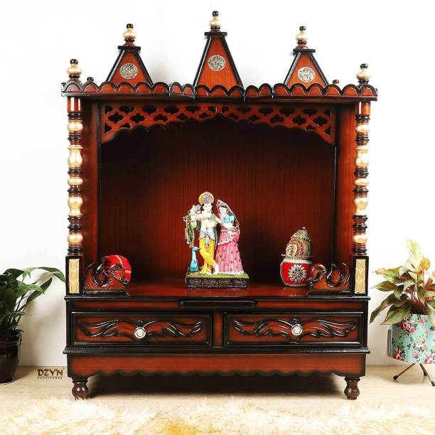 DZYN FURNITURES Floor Rested Wooden Temple without Door Solid Wood Home Temple