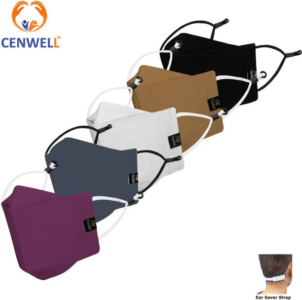 CENWELL Unisex 100% Cotton Designer 3D Shape Face Mask 6 Layer Protective Fashionable Fabric N95 Cotton Fabric Mask for Men ,Women ,Girls , Teens with Adjustable Ear loop ,Ear Saver Strap (Reusable Mask , Washable Mask , Pollution Mask) 3D MASK Water Resistant, Reusable, Washable Cloth Mask With Melt Blown Fabric Layer