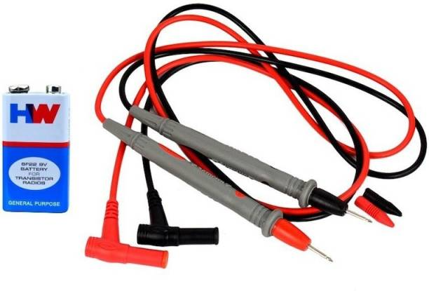 Qualigen 1000 Volt 20 Amp Universal Multimeter Lead Probes Plug Test Cable Wire Pen Thin Tip Needle for Multi Meter, Clamp Meter, Volt Meter, Electronic Work with Ultra Fine Imported High Quality Super Softer Antifreezing Silicon Probe With 6f22 9v battary Digital Multimeter